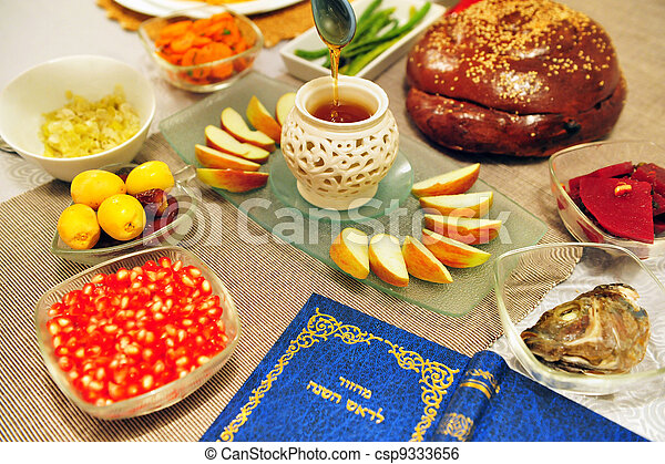 Jewish holidays rosh hashanah table set for the new jewish year jewish holidays rosh hashanah csp9333656 m4hsunfo