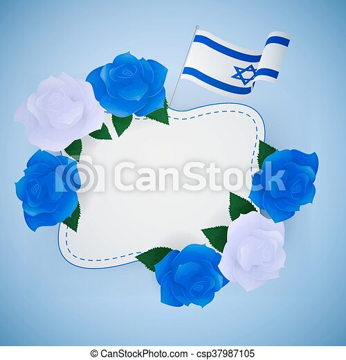 Jewish israel background with roses. - csp37987105