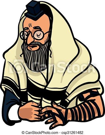 jewish man praying and put on tfilin vector illustration vector rh canstockphoto com Corporation Clip Art Judaica Clip Art Borders