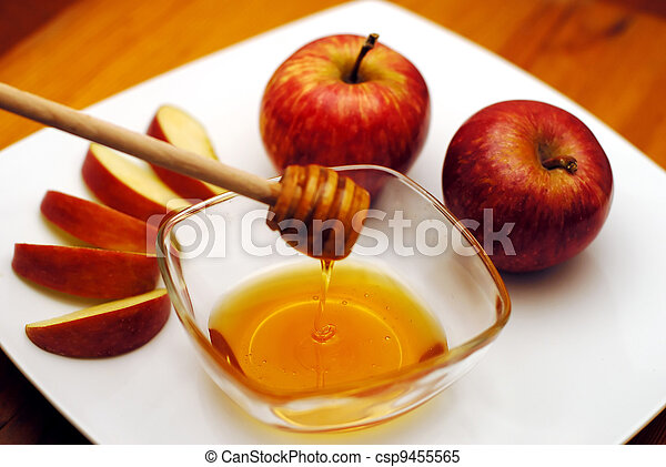 Jewish New Year - Rosh Hashanah - Apple and Honey - csp9455565