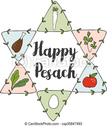 Jewish pesach passover greeting card with seder doodle icons and jewish pesach passover greeting card with seder doodle icons and jewish star vector m4hsunfo