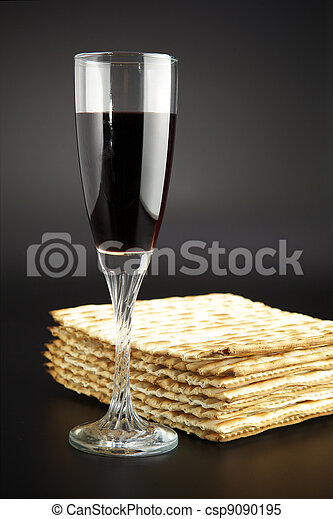 Jewish religious feast Passover traditional food Matza and red wine - csp9090195