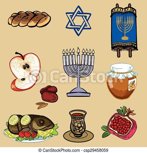 Símbolos de rosh hashanah (nuevo año judío). icono de ilustración vectorial - csp29458059