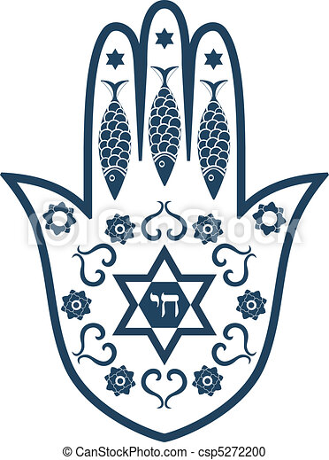 Jewish Sacred Amulet Hamsa Or Miriam Hand Vector Illustration