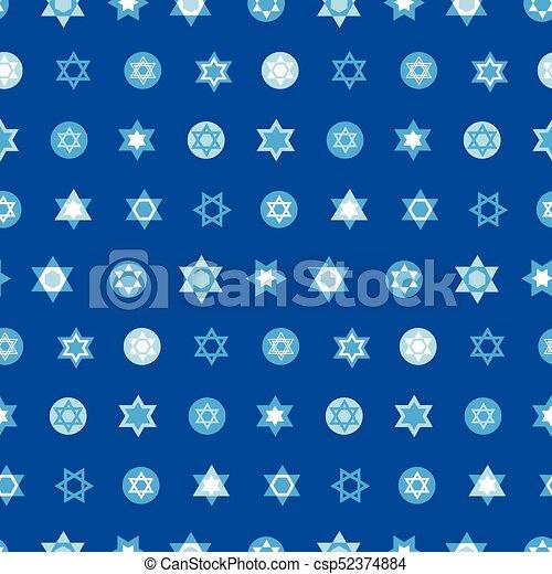 Jewish stars set seamless pattern. Star of David national Israel symbols - csp52374884