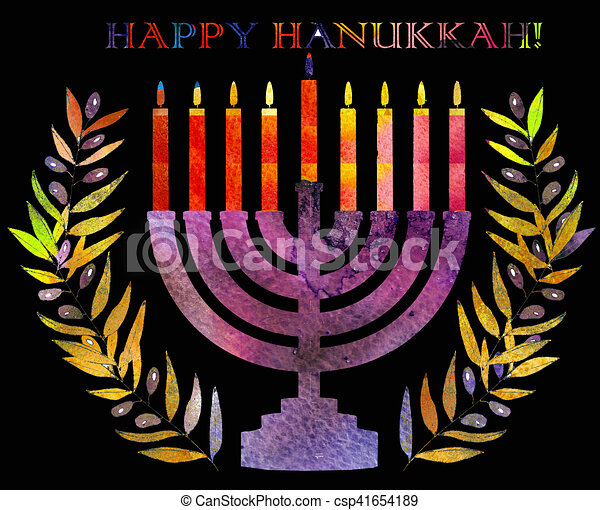 Jewish traditional holiday hannukahwatercolor greeting card jewish jewish traditional holiday hannukahwatercolor greeting card csp41654189 m4hsunfo