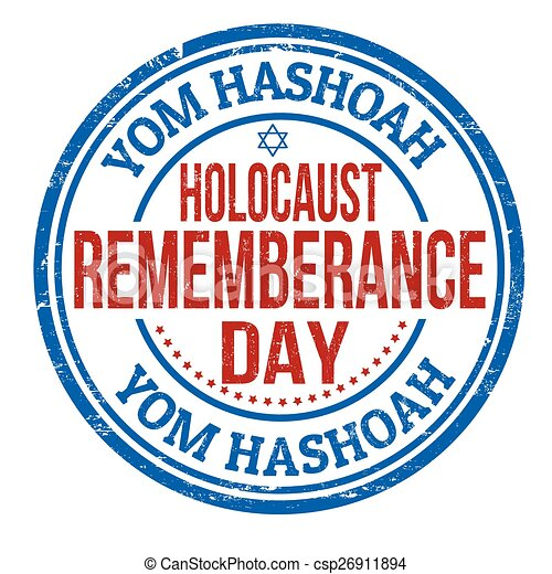Jewish Yom HaShoah Remembrance Day stamp - csp26911894