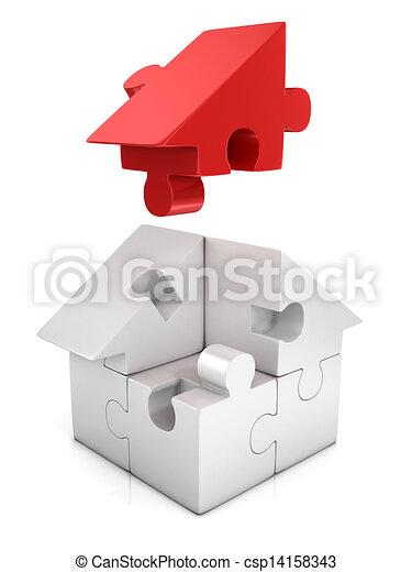 d51f2203df jigsaw house 3d illustration - csp14158343