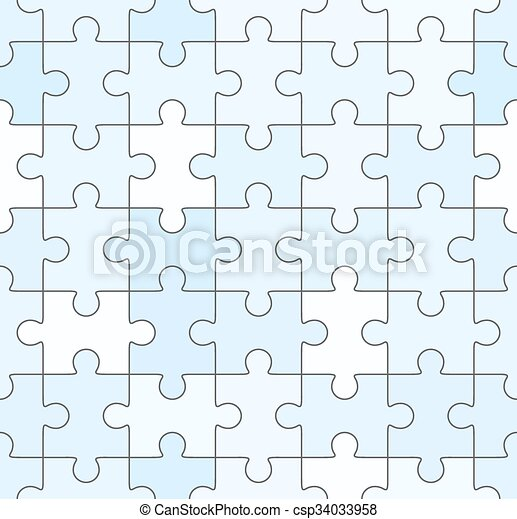 Jigsaw Puzzle Blank Blue Seamless Template