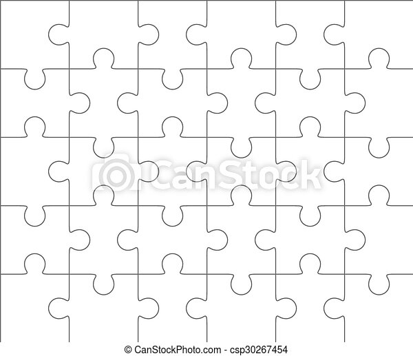 Jigsaw Puzzle Blank Template 5x6 Thirty Pieces
