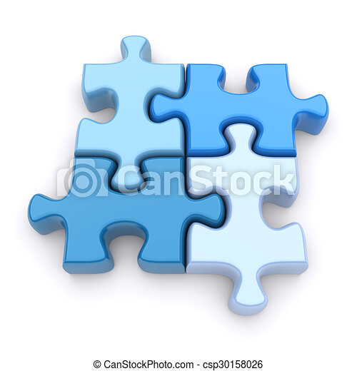 Jigsaw Puzzle On A White Background 3d Image