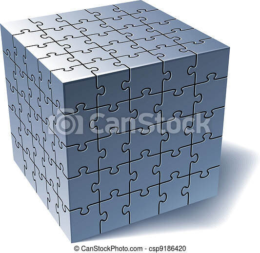 Jigsaw puzzle cube. All Parts Together - csp9186420