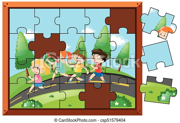 Jigsaw Puzzle Game With Kids Walking In Park