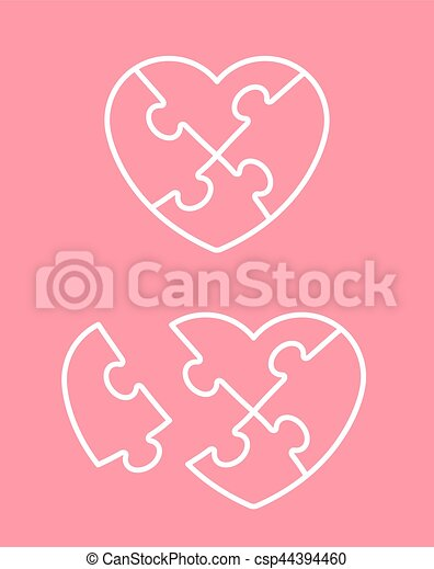 Jigsaw Puzzle Heart Icon With Missing Piece
