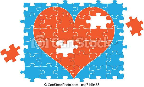 jigsaw puzzle heart, vector  - csp7149466