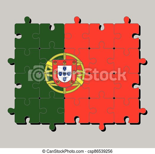 Jigsaw puzzle of Portugal flag in 2:3 vertically striped of green and red, with coat of arms of Portugal. - csp86539256
