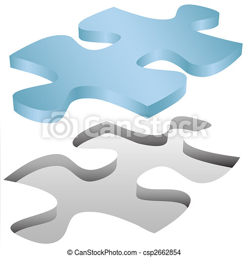 Jigsaw puzzle piece fits in hole on white - csp2662854