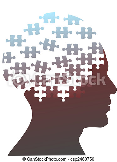 jigsaw puzzle pieces as mind head of a man - csp2460750