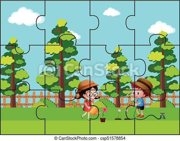 Jigsaw Puzzle Pieces For Kids In The Park