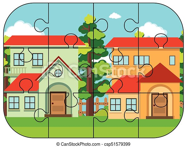 Jigsaw Puzzle Pieces Of Two Houses