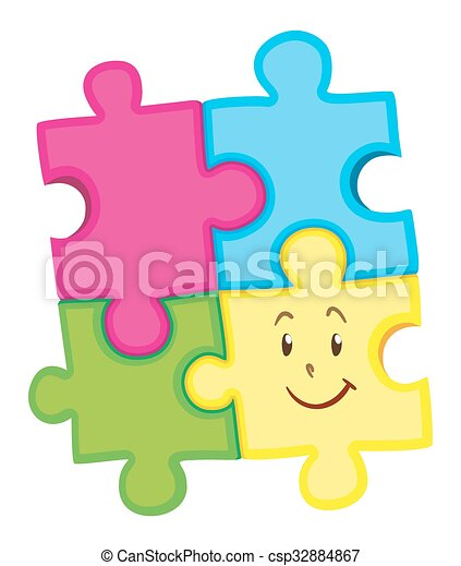 Jigsaw Puzzle Pieces With Happy Face