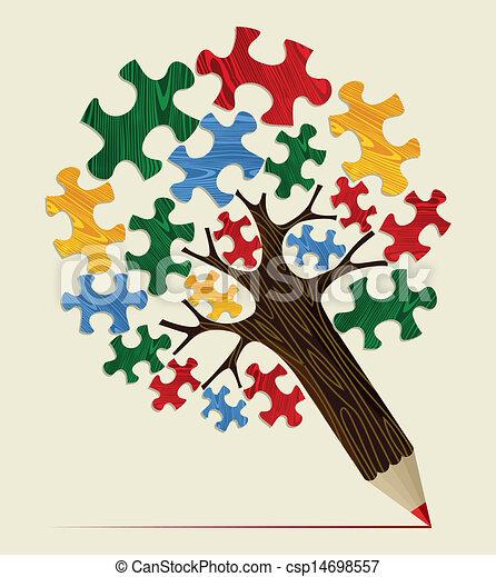 Jigsaw strategic concept pencil tree - csp14698557