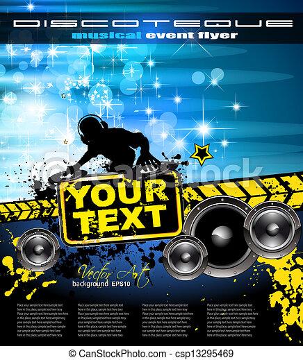 Antecedentes musicales abstractos con forma de disc jockey para volantes discográficos - csp13295469