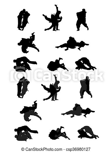 jiu jitsu and judo wrestlers vector silhouettes rh canstockphoto com jiu jitsu belt clipart brazilian jiu jitsu clipart