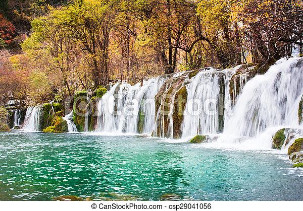 Jiuzhaigou Bambus Wasserfall Pfeil Landschaftlich Sichuan