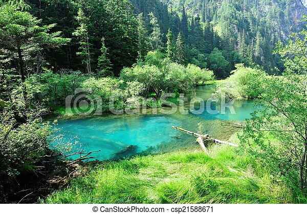 jiuzhaigou national park in china - csp21588671
