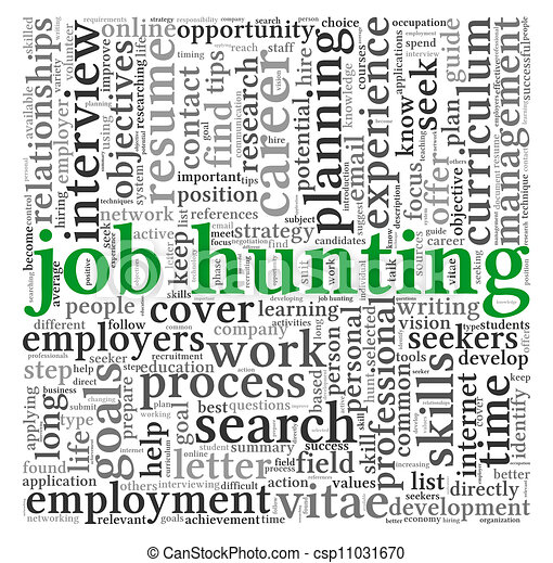 Job hunting concept in word tag cloud - csp11031670