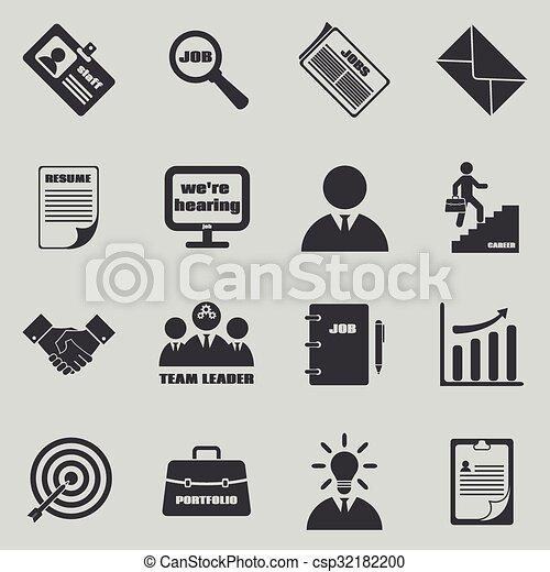 Job icons vector set. human resources and employment symbols. Job ...