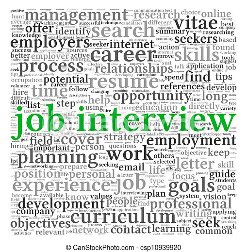 Job interview concept in word tag cloud - csp10939920
