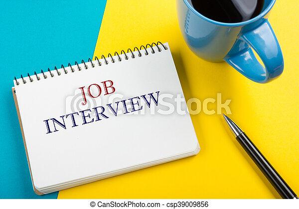 Job interview. Office desk table with notepad, pencil and coffee cup. Top view. - csp39009856