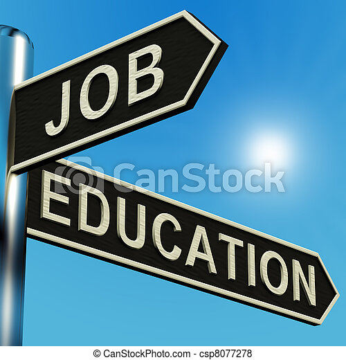 Job Or Education Directions On A Signpost - csp8077278