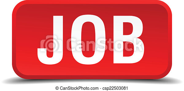 Job red 3d square button isolated on white - csp22503081