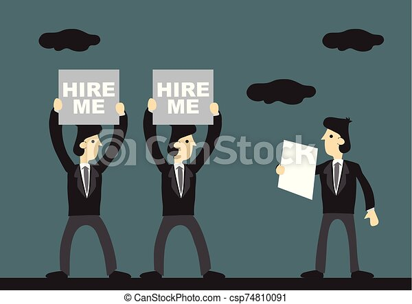 Job Search Cartoon Vector Illustration Business Professionals Holding Up Hire Me Sign For Selection Cartoon Vector