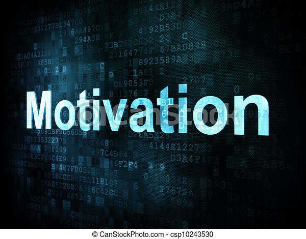 Job, work concept: pixelated words Motivation on digital screen - csp10243530