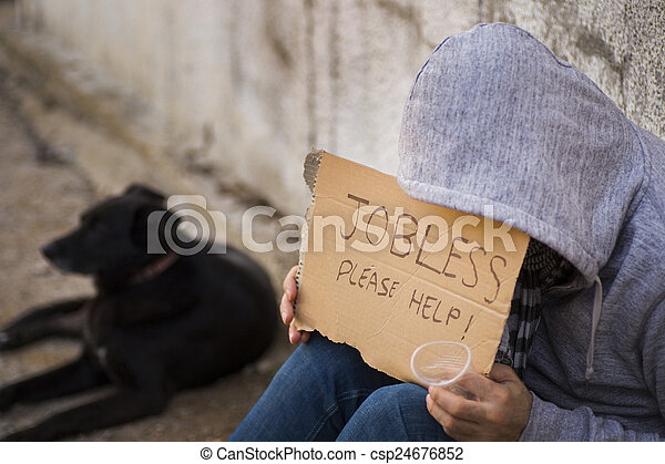 Jobless seek help - csp24676852