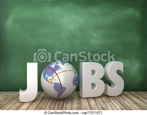 JOBS 3D Word with Globe World on Chalkboard Background - csp71311071