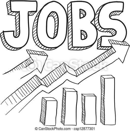 Jobs increasing sketch. Doodle style jobs or employment ...