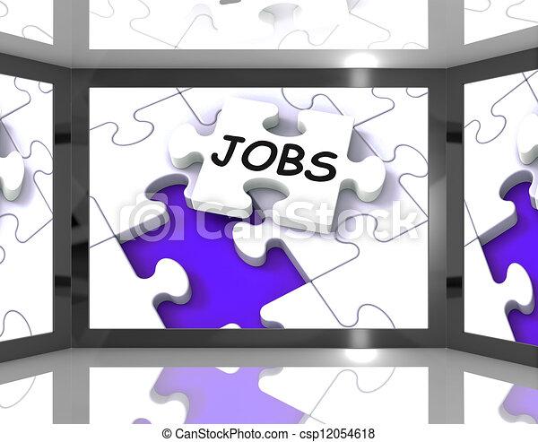 Jobs On Screen Showing Job Recruitment - csp12054618