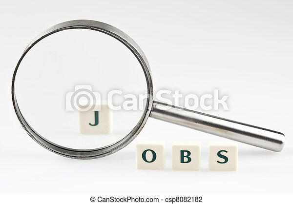 Jobs word and magnifying glass - csp8082182