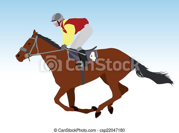 jockey riding race horse - csp22047180