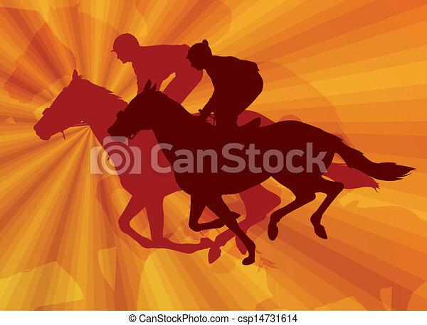 jockeys riding horses - csp14731614