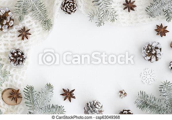 jodła, płaski, anyż, bohater, zima, mockup, drzewo górne, conesand, space., sosna, chodnikowiec, pieśń, tło., prospekt, gwiazda, biały, kopia, gałęzie, boże narodzenie, frame. - csp63049368