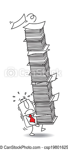 Joe the businessman with his paper stack - csp19801625