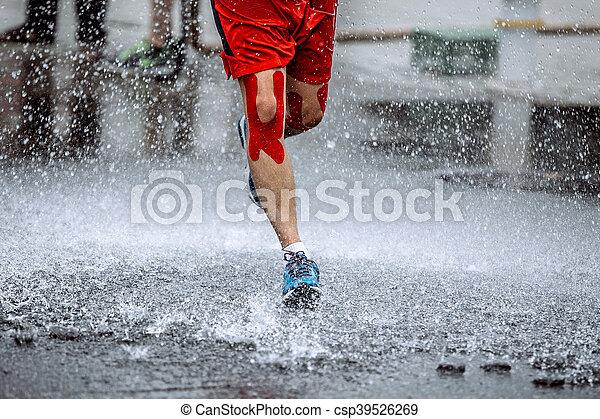 joelhos, atleta, seu, fita, macho - csp39526269