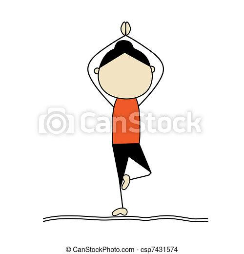 Eine Frau übt Yoga, Baum Pose - csp7431574