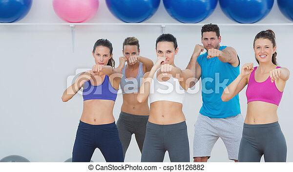 joga, macht, leute, fitness, lächeln, klasse, übung - csp18126882